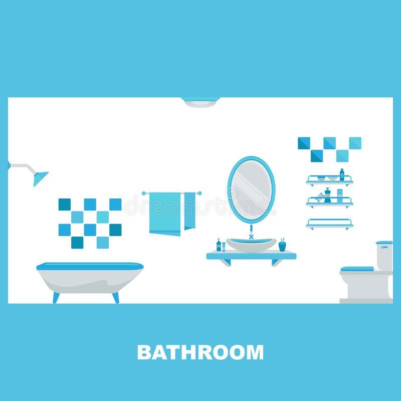 Moderner Badezimmerinnenraum mit Badewanne vektor abbildung