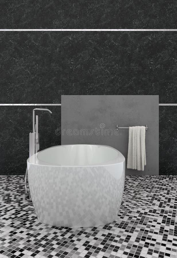 Moderner Badezimmerinnenraum mit Mosaikfußbodenfliesen lizenzfreie abbildung
