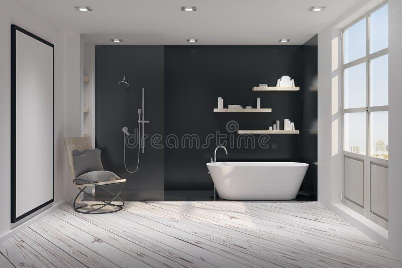 Moderner Badezimmerinnenraum mit Plakat stock abbildung