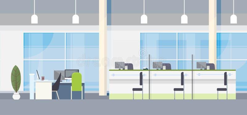 Moderner Bank-Büro-Innenarbeitsplatz-Schreibtisch-flaches Design stock abbildung