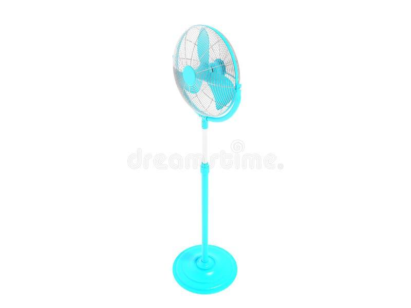Moderner blauer Ventilator auf dem Bein für das Abkühlen der Draufsicht 3d der kleinen Büros übertragen auf weißem Hintergrund ke stock abbildung