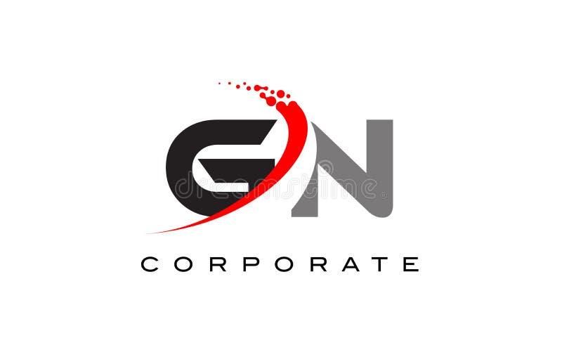 Moderner Buchstabe Logo Design GN mit Swoosh vektor abbildung