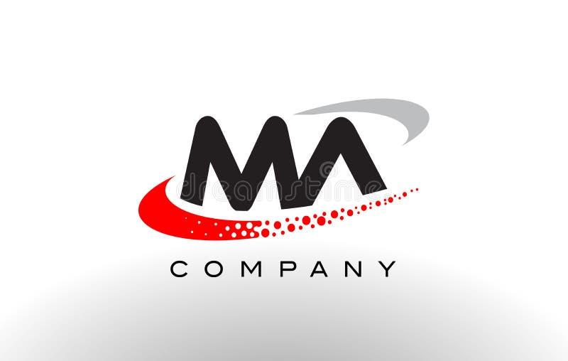 Moderner Buchstabe Logo Design MAs mit Rot punktiertem Swoosh vektor abbildung