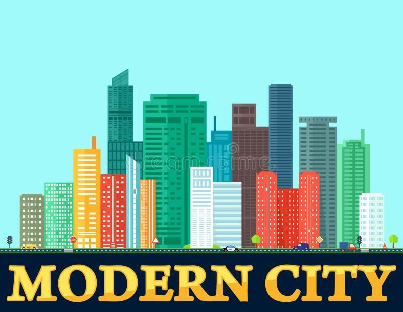 Download Moderner Bunter Stadthintergrund Vektor Abbildung - Illustration von zustand, daten: 96930575