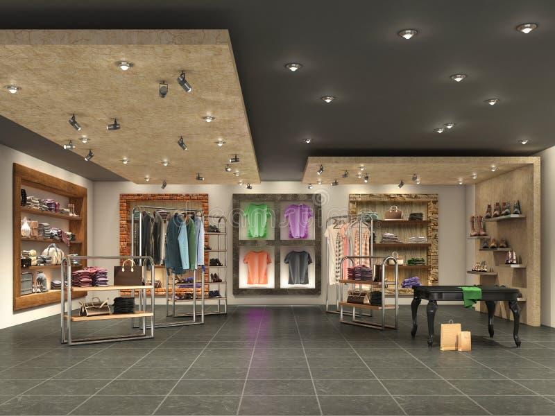 moderner Butikeninnenraum mit Kleidung stockfotos