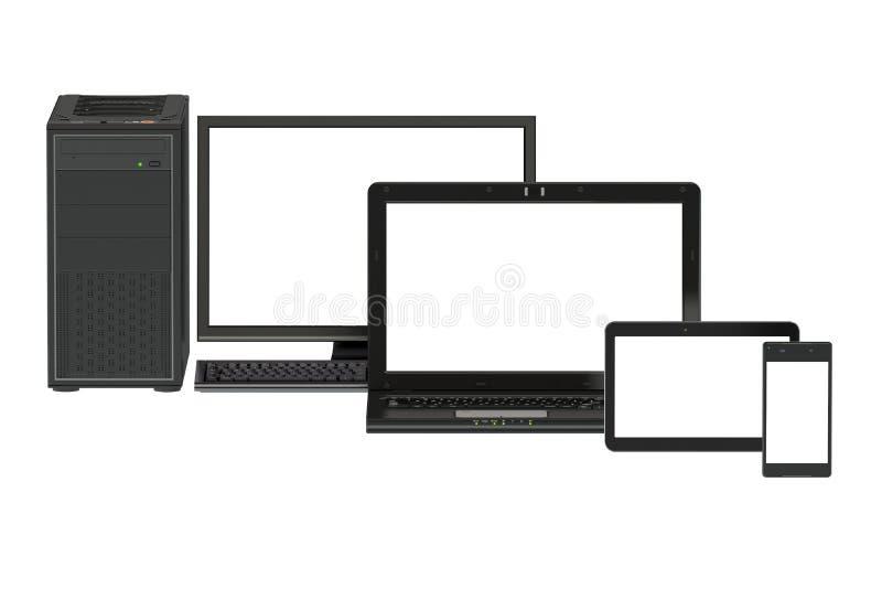 Moderner Computer, Laptop, Tablette und Smartphone vektor abbildung