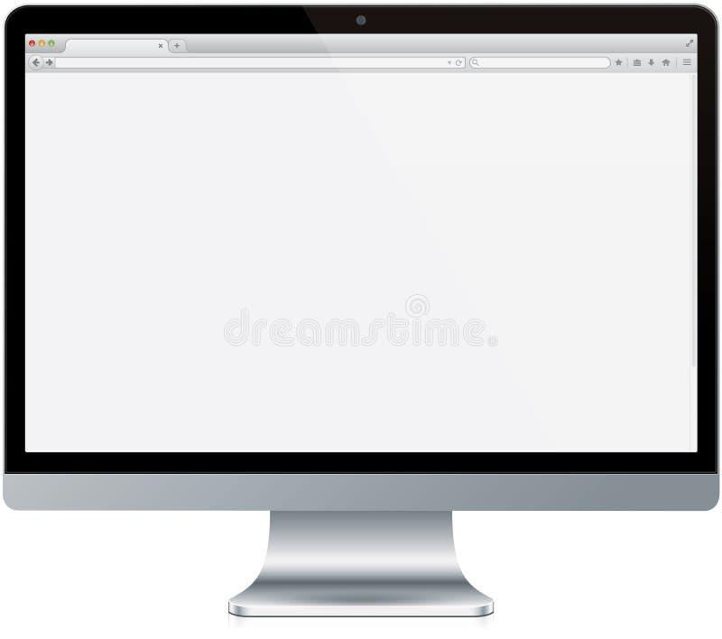 Moderner Computer mit Browser-Schirm stockfotografie
