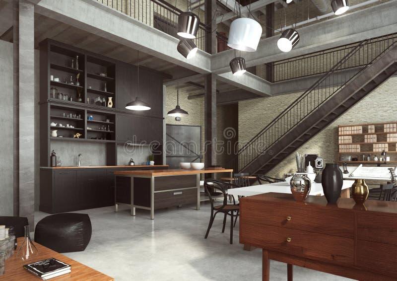 Moderner Dachboden entworfen als Großraumwohnung lizenzfreie stockfotos