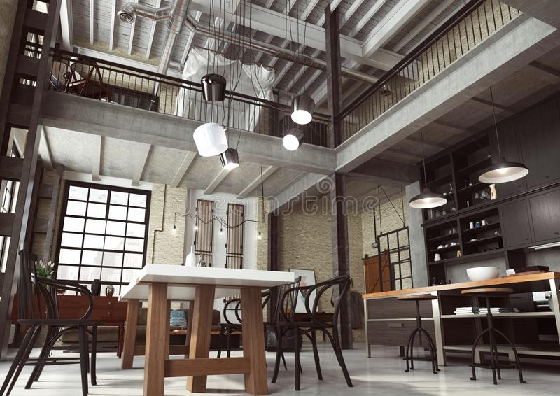 Moderner Dachboden entworfen als Großraumwohnung stockbild
