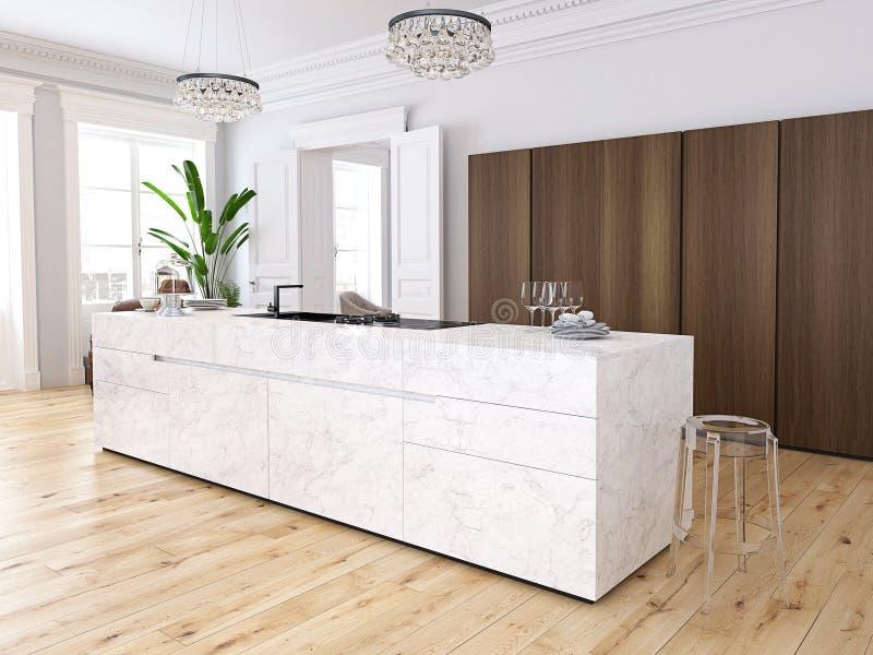 Moderner Dachboden mit einer Küche und einem Wohnzimmer Wiedergabe 3d lizenzfreie abbildung