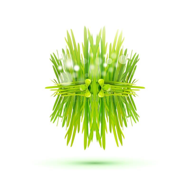Moderner doppelseitiger Aufkleber mit grünem Gras stock abbildung