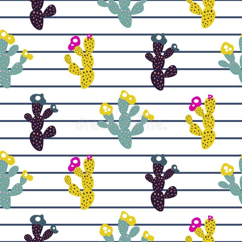 Moderner Druck des exotischen Musters des Kaktus nahtlosen mit Streifen stock abbildung