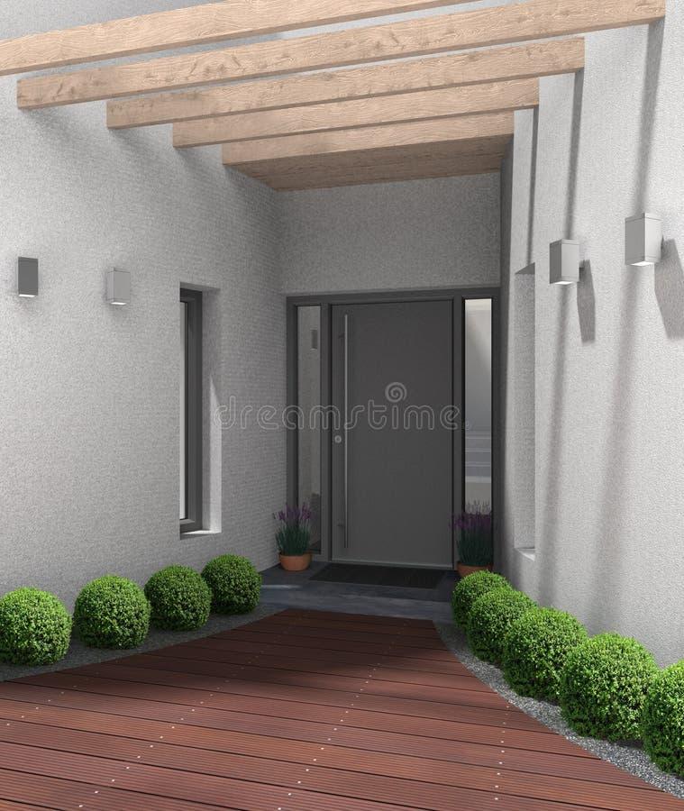 Haustür Eingang moderner eingang mit haustür stock abbildung illustration grau