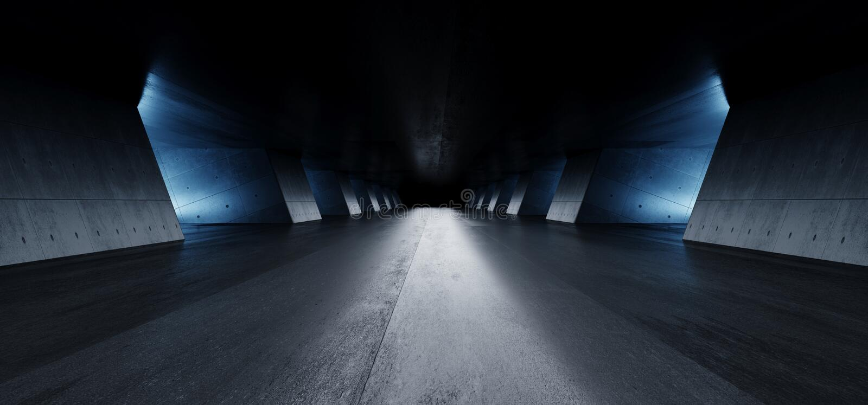 Moderner eleganter Architektur-Schmutz-konkrete Spalten zementieren reflektierende Untertagehallen-Raum-Garagen-Galerie-Tunnel-Ko stock abbildung