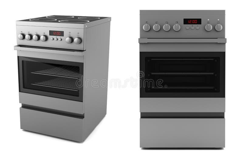 Moderner elektrischer Ofen getrennt auf Weiß lizenzfreie abbildung