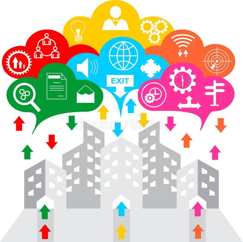 Moderner Entwurf Idee und Konzept-Vektorillustration Geschäft Infographic-Schablone mit Ikone auf den Wolken vektor abbildung