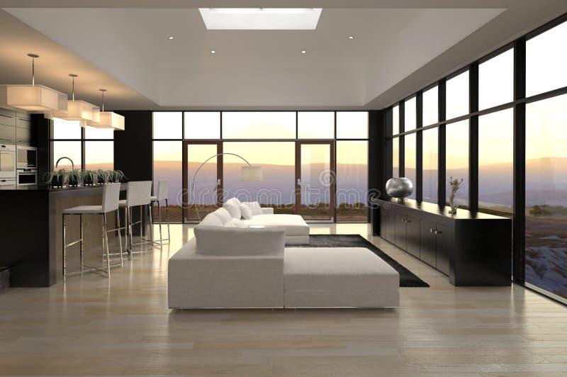 Moderner Entwurfs-Dachboden-Wohnzimmer   Architektur lizenzfreie abbildung