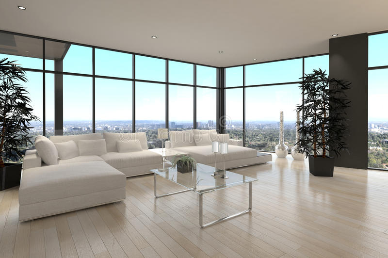 Moderner Entwurfs-Dachboden-Wohnzimmer | Architektur stock abbildung