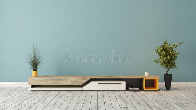 Moderner Fernsehstand mit blauer Wandgestaltung lizenzfreies stockbild