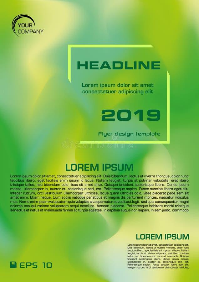 Moderner flüssiger flüssiger Formflieger der Zusammenfassung, Fahne, Hintergrund in der grünen Farbe lizenzfreie abbildung