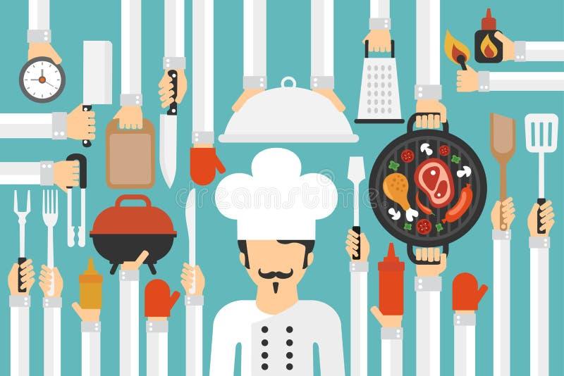 Moderner flacher Satz des Grills u. des Grills mit Koch lizenzfreie abbildung