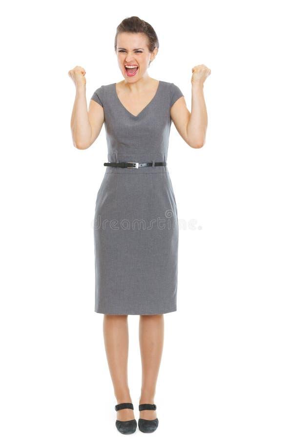 Moderner freuender Erfolg der Geschäftsfrau lizenzfreie stockfotografie