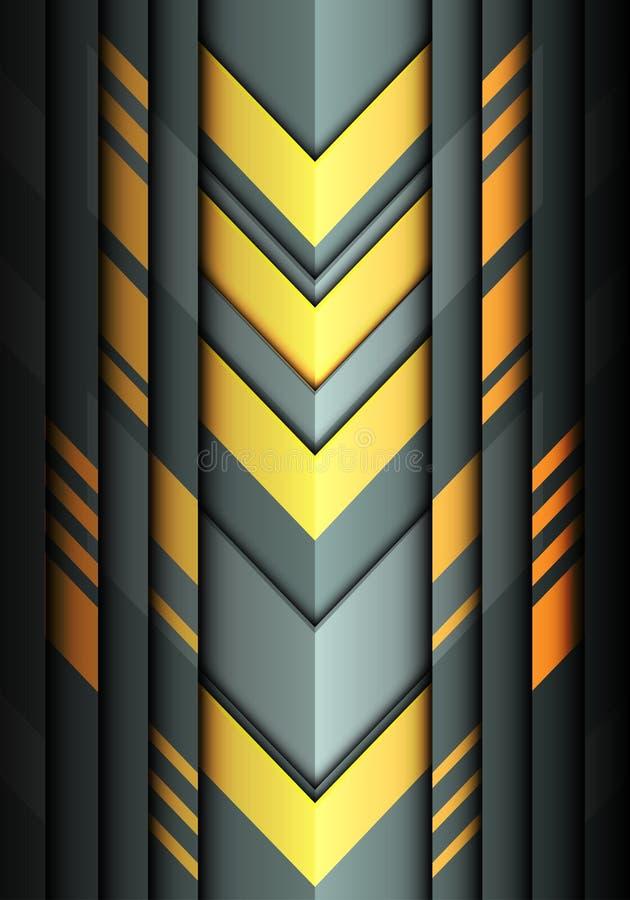 Moderner futuristischer Hintergrundvektor des abstrakten gelben hellgrauen Richtungsdesigns des Pfeiles 3D lizenzfreie abbildung