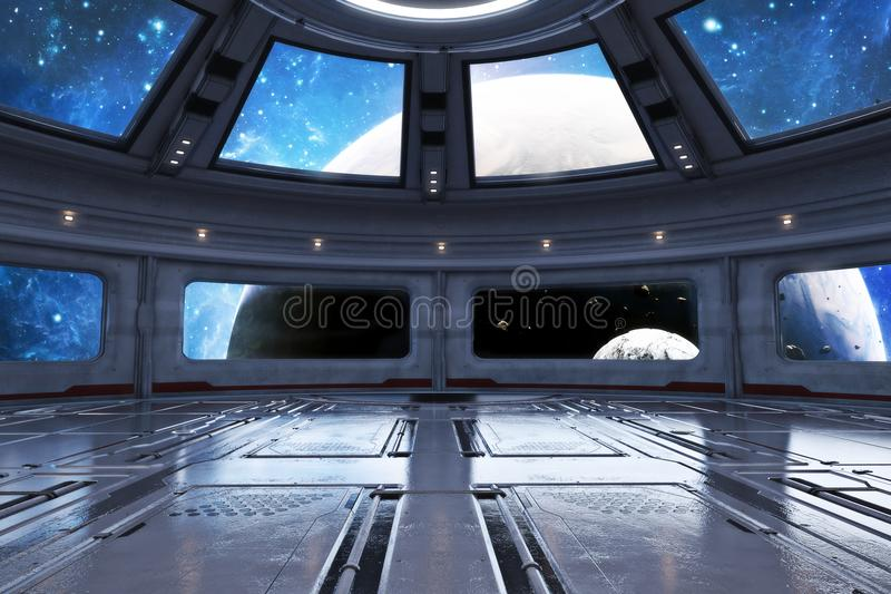Moderner futuristischer Raumschiffinnenraumhintergrund vektor abbildung