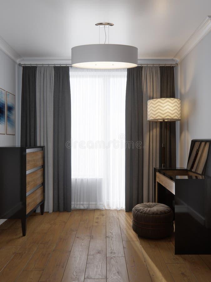 Moderner Garderoben-Raum des begehbaren Schranks lizenzfreie abbildung