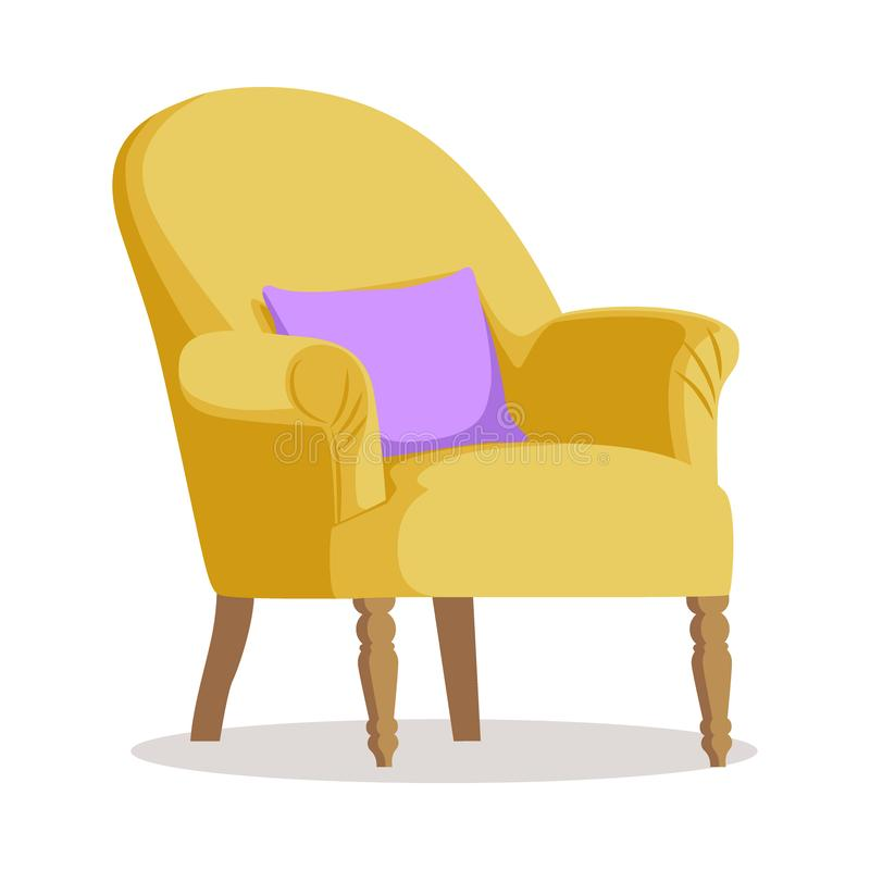 Moderner gelber weicher Lehnsessel mit Polsterung - Innengestaltungselement lokalisiert auf weißem Hintergrund lizenzfreie abbildung