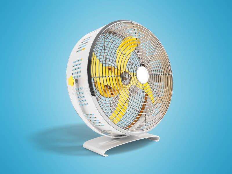 Moderner gelbes Metallventilator für das Abkühlen von Wiedergabe 3D auf blauem Hintergrund mit Schatten vektor abbildung