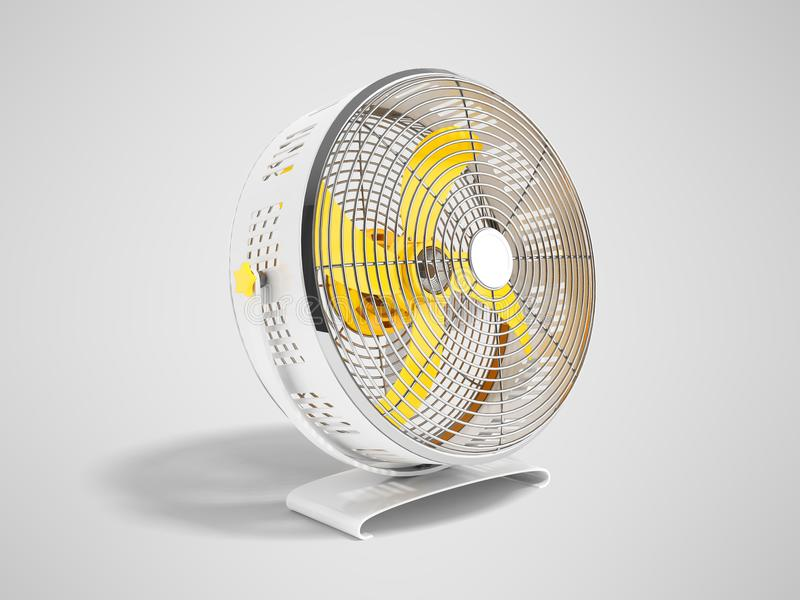 Moderner gelbes Metallventilator für das Abkühlen von Wiedergabe 3D auf grauem Hintergrund mit Schatten vektor abbildung