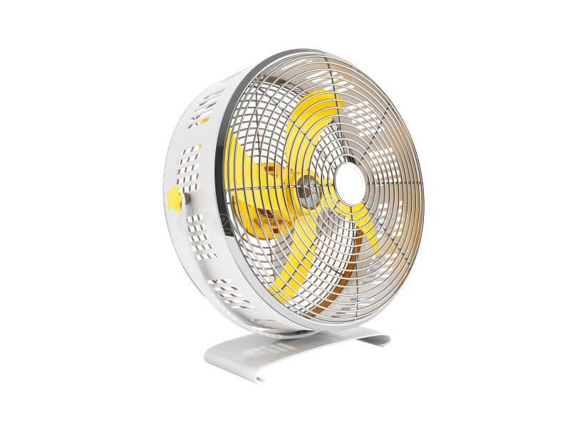 Moderner gelbes Metallventilator für das Abkühlen von Wiedergabe 3D auf weißem Hintergrund kein Schatten lizenzfreie abbildung