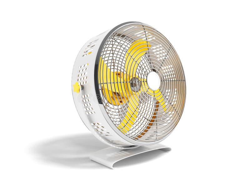 Moderner gelbes Metallventilator für das Abkühlen von Wiedergabe 3D auf weißem Hintergrund mit Schatten stock abbildung