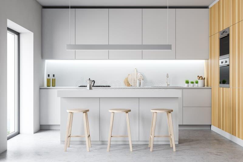 Moderner gemütlicher Entwurfskücheninnenraum mit Möbeln 3d übertragen stock abbildung