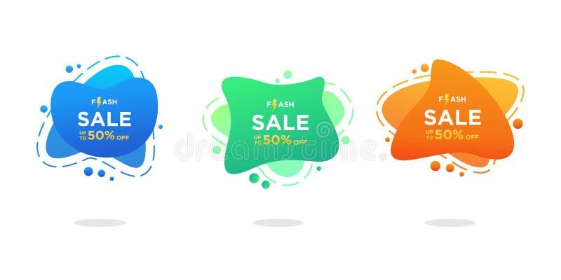 Moderner geometrischer flüssiger bunter Satz Greller Verkauf der Vektorschablonen-Fahnen Kann für Netz, mobilen App und Druckentw lizenzfreie abbildung
