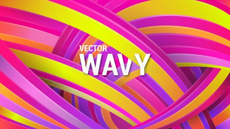 Moderner geometrischer Hintergrund Abstrakter Regenbogen Violette, gelbe und orange gekr?mmte Linien Dynamischer Effekt stock abbildung
