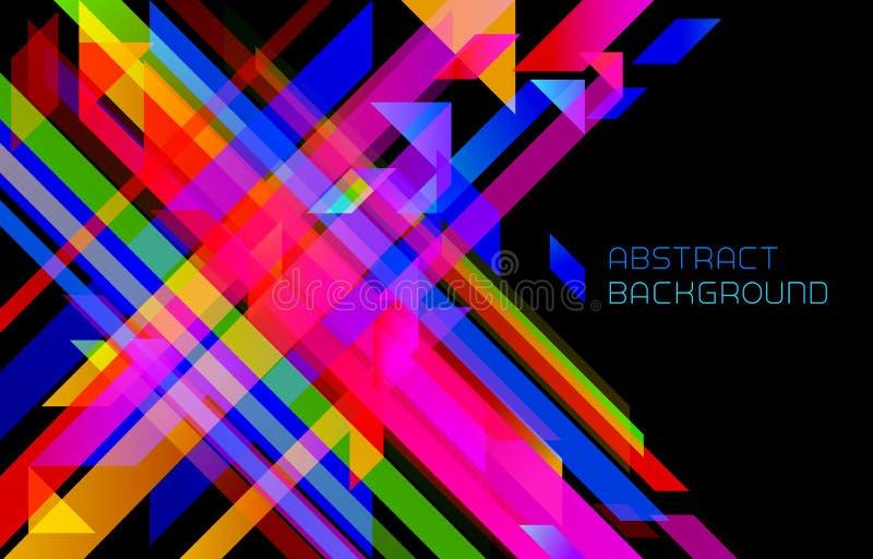 Moderner geometrischer Hintergrund der Zusammenfassung mit bunten Streifen auf Schwarzem vektor abbildung