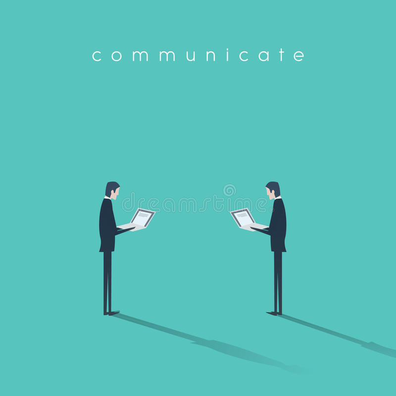 Moderner Geschäftskommunikationskonzeptvektor mit dem Geschäftsmann zwei, der an Laptops arbeitet lizenzfreie abbildung