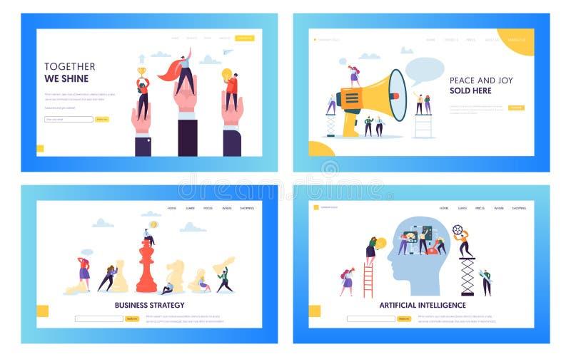 Moderner Geschäftsstrategie-Konzept-Landungs-Seiten-Satz Künstliche Intelligenz-und Daten-Wissenschafts-Technologie Leute-Charakt lizenzfreie abbildung