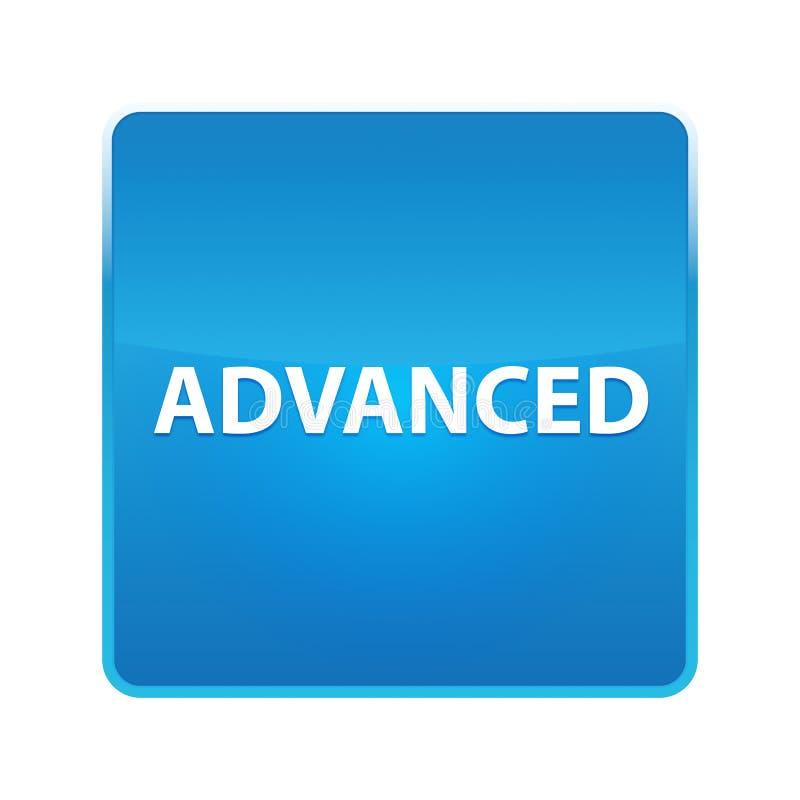 Moderner glänzender blauer quadratischer Knopf vektor abbildung
