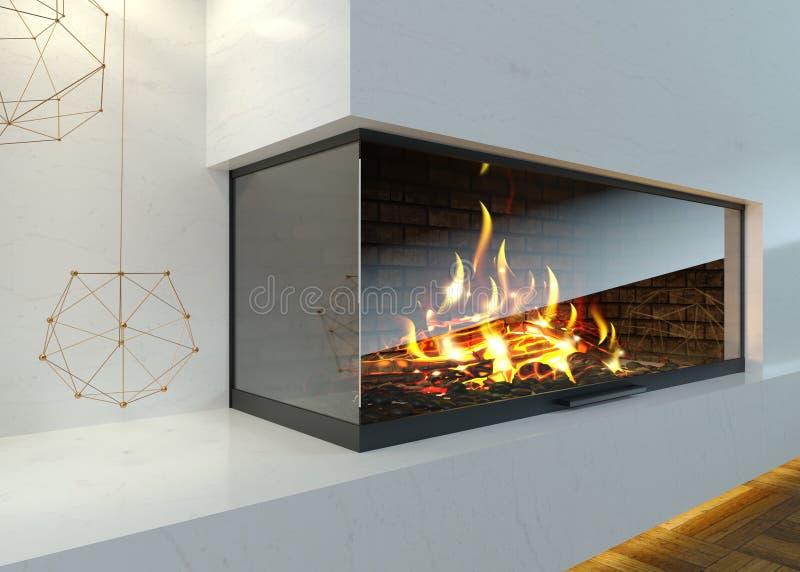 Moderner Glaseckkamin im Innenraum lizenzfreie stockfotografie