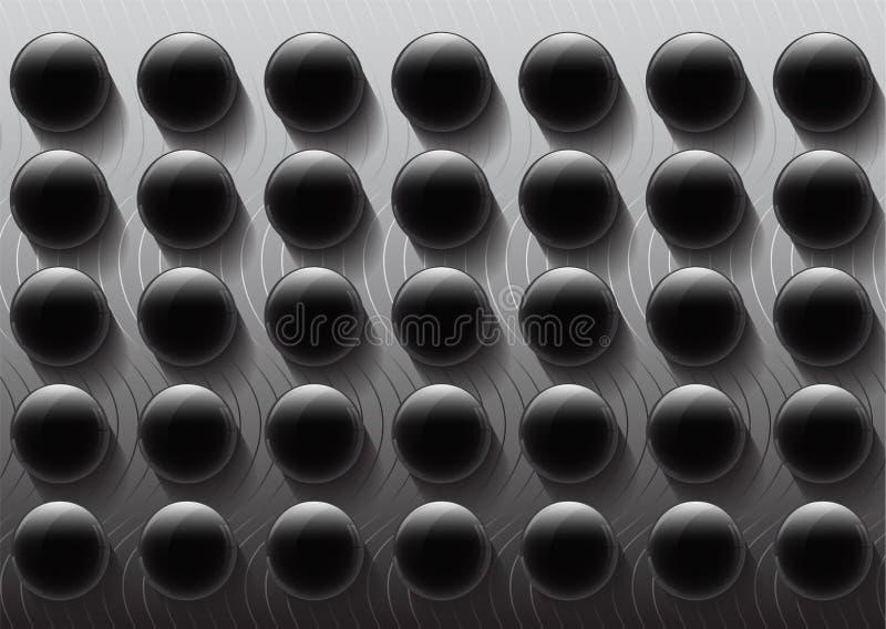 Moderner glatter geometrischer Schwarzweiss-Knopf mit Schattenzusammenfassungs-Hintergrundmuster lizenzfreie abbildung