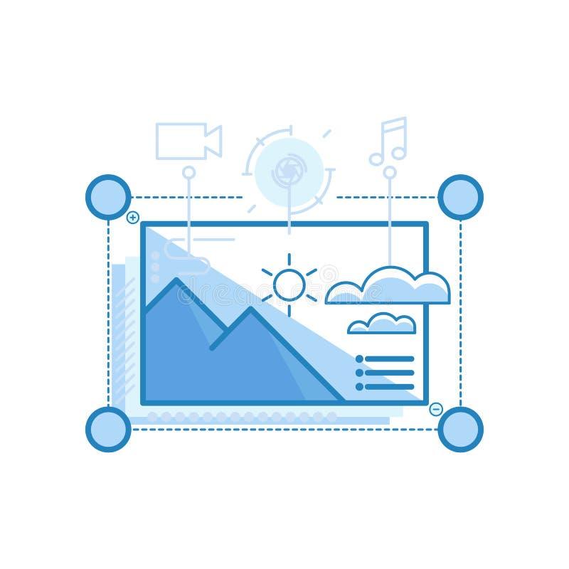 Moderner glatter Inhalt, Medien, Content Management-Entwurfsikonen für Netz und Grafikdesign, Ui-Entwurf, Entwicklung, usw. Ikone lizenzfreie abbildung