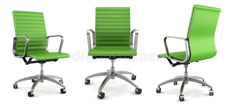 Moderner grüner Bürostuhl auf Weiß vektor abbildung