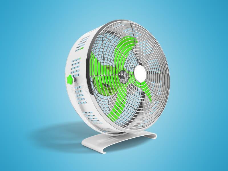 Moderner grüner Metallventilator für das Abkühlen von Wiedergabe 3d auf blauem backgrou lizenzfreie abbildung