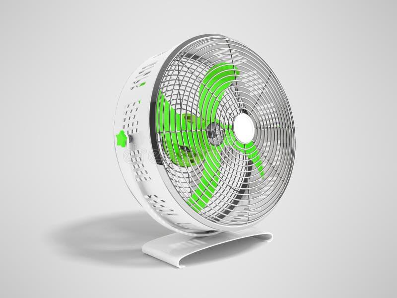 Moderner grüner Metallventilator für das Abkühlen von Wiedergabe 3d auf grauem backgrou vektor abbildung