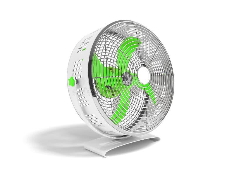Moderner grüner Metallventilator für das Abkühlen von Wiedergabe 3d auf weißem backgro stock abbildung