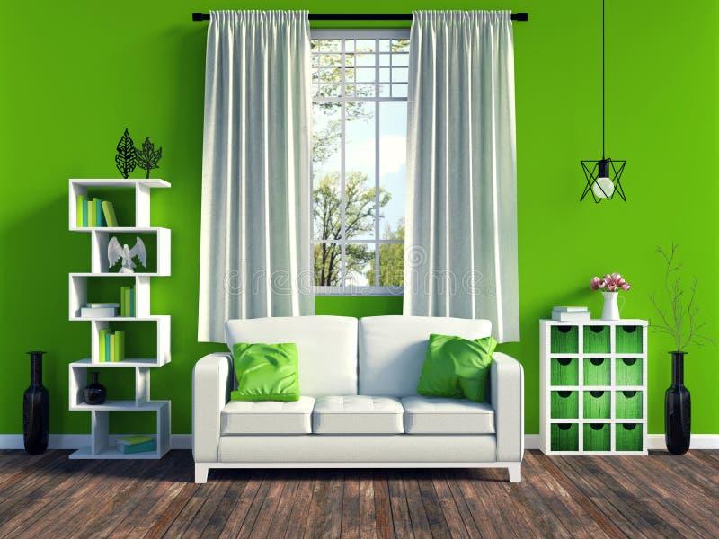 Moderner grüner Wohnzimmerinnenraum mit weißem Sofa und Möbel und alter hölzerner Bodenbelag stockbild