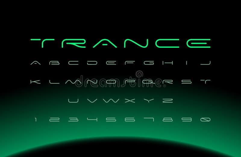 Moderner Guss Futuristisches Vektoralphabet Breite Buchstaben stock abbildung